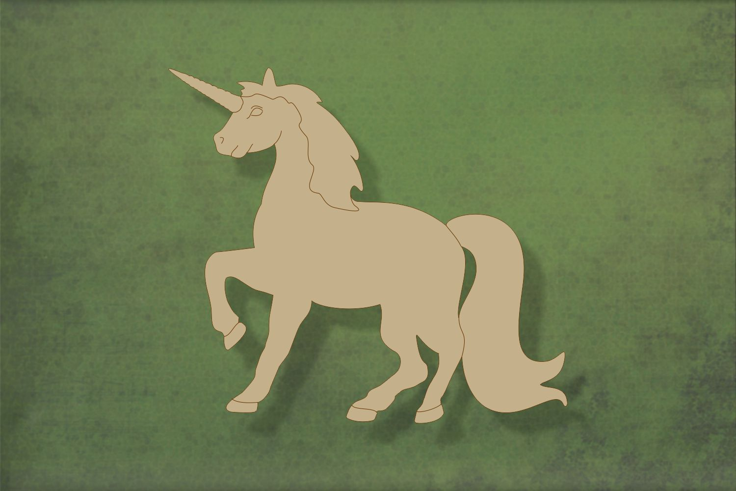 Laser cut, blank wooden Unicorn with etched detail shape for craft