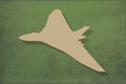 Laser cut, blank wooden Vulcan bomber plane side view shape for craft