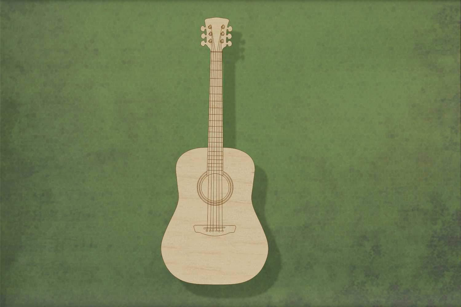 Laser cut, blank wooden acoustic guitar etched shape for craft