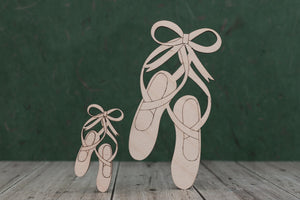 Ballet shoes laser cut from birch plywood.