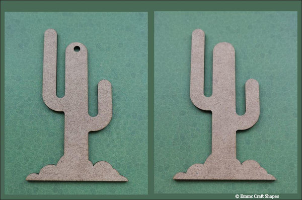 Cactus craft shapes, laser cut from 2mm MDF. One with a hole and one without.