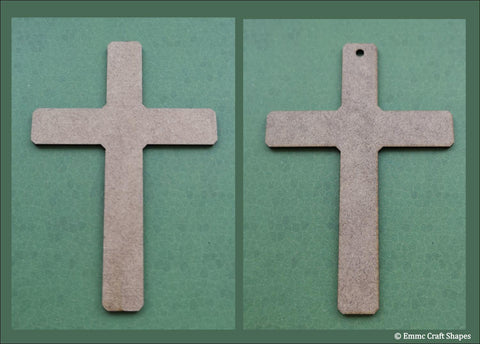 Two standard shaped crosses, laser cut from 2mm MDF. One with a hole one with no hole