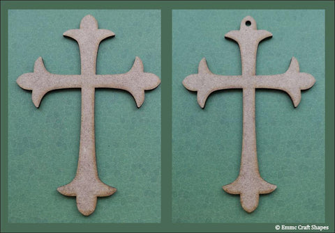 two crosses laser cut from 2mm MDF. One with a hole, one without.