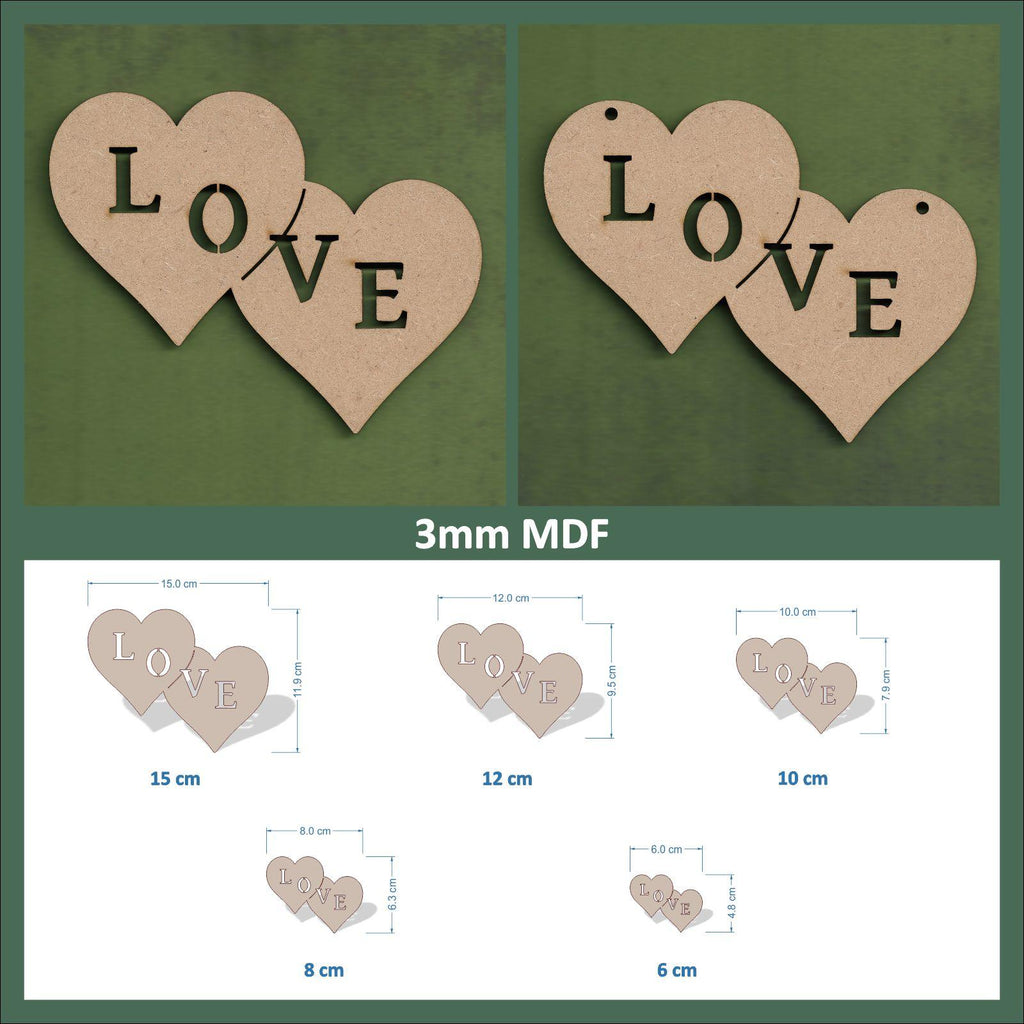 10 x Long Heart Bunting With Letters 2mm Wooden MDF Craft Blanks 100mm x 150mm