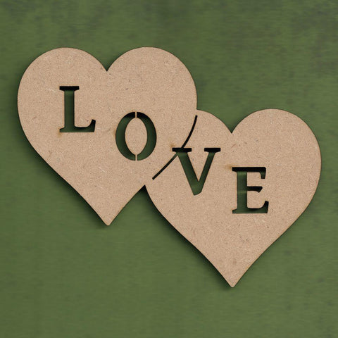 "MDF Double heart with ""love"" cutout"