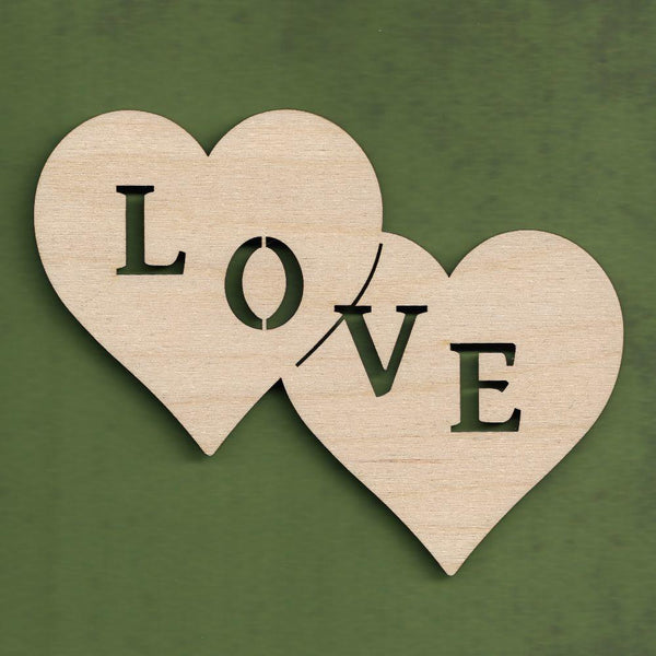 "Plywood Double heart with ""love"" cutout"
