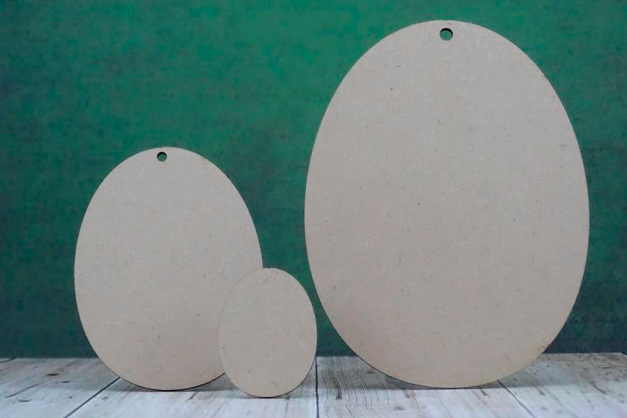 Group of laser cut mdf wooden easter egg shape. 3mm mdf