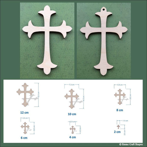Dimensions for the cross shapes. Available in lots of sizes from 2cm up to 12cm