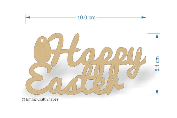 wooden MDF Happy Easter cutout in script text