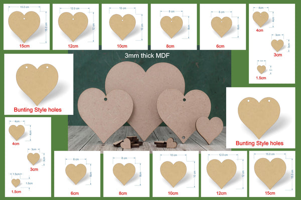 MDF heart cutouts with a selection of sizes and hole options.