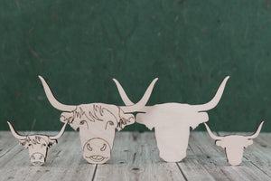 Scottish highland cow shapes for crafts and plaques