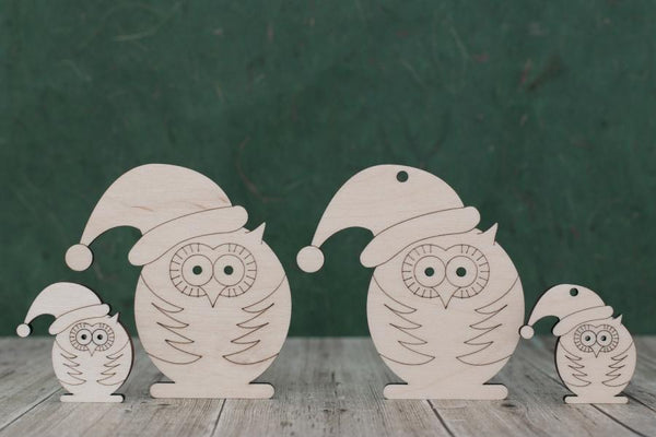 4 mm Plywood Christmas Owl Shapes