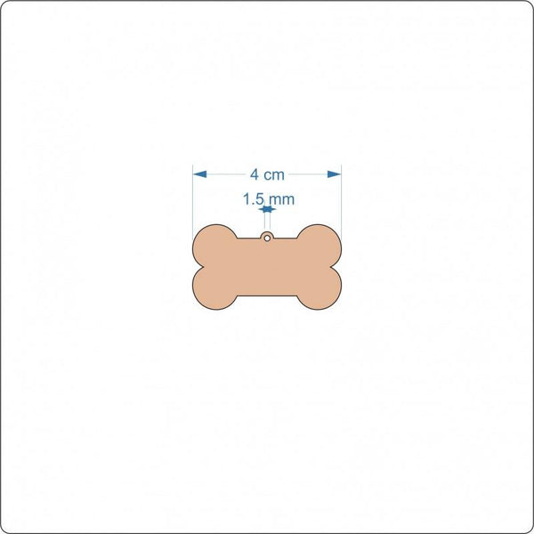 3 mm MDF Dog Bone Blanks - 4 cm with Hanging hole
