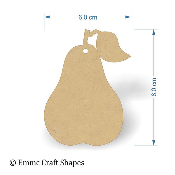 3mm MDF Pear Shapes - 8 cm with hanging hole