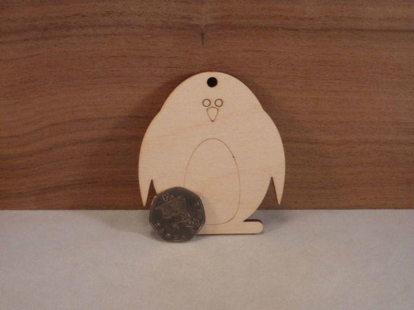 Plywood Penguin Tags - 4 cm