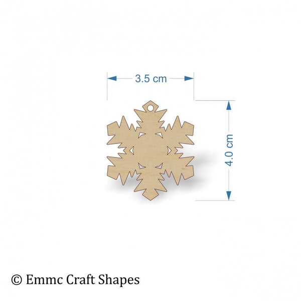 Plywood Snow Flake Cut Out - 4 cm with hanging hole