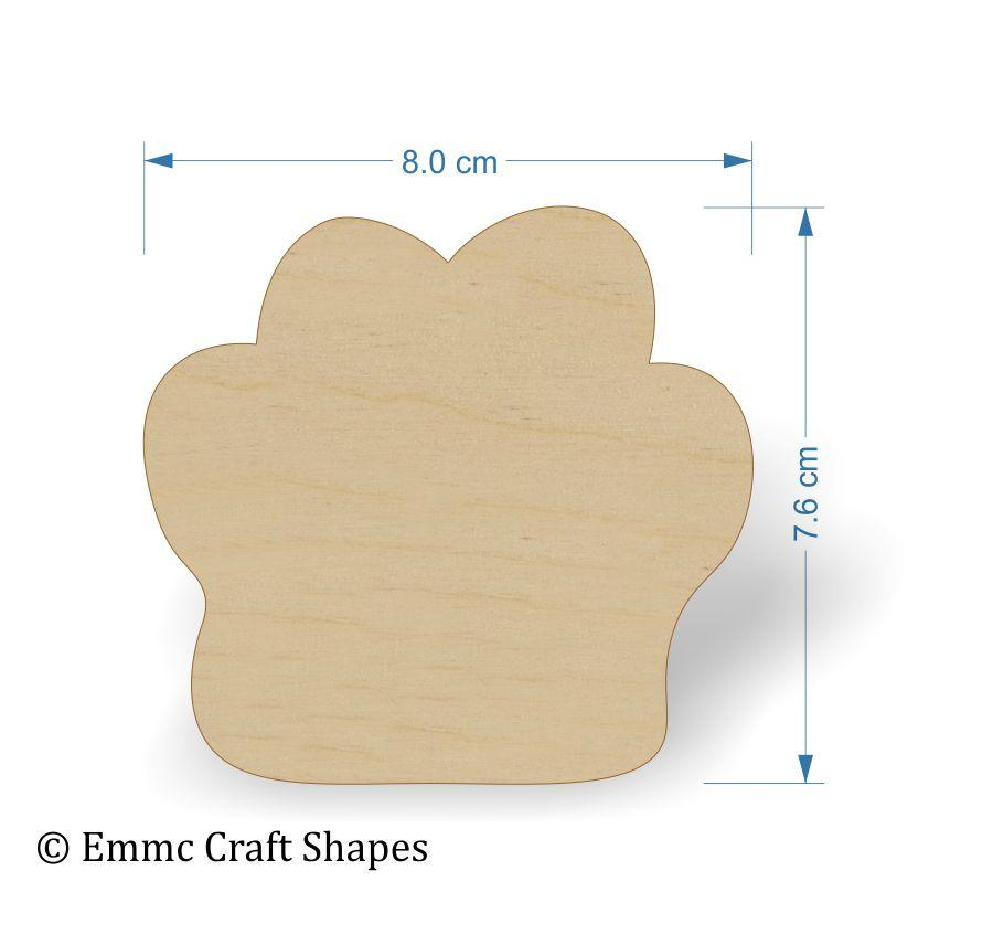 Wooden Paw Print Shapes - Cute 4mm Plywood cat or dog paw