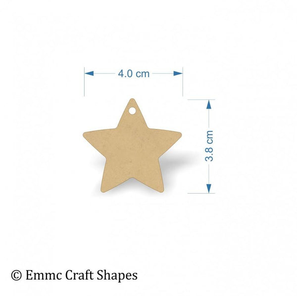 3mm MDF Star Shape Blank - 4 cm with 1 hanging hole
