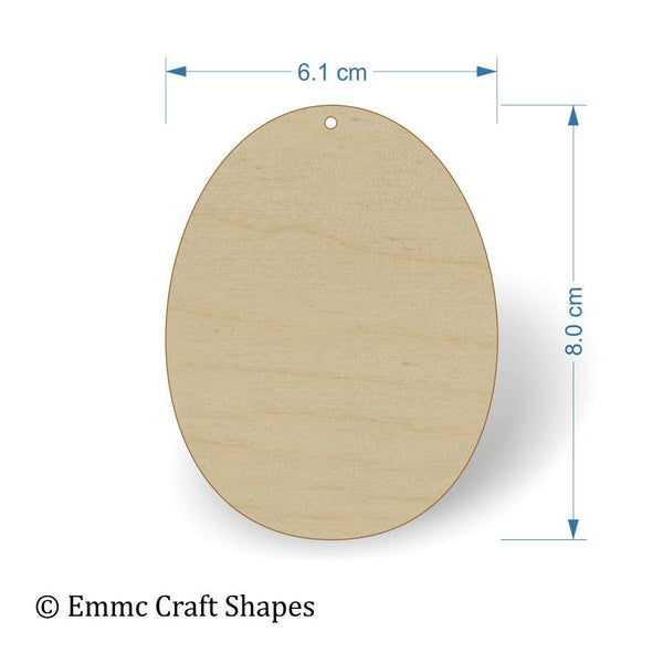 Plywood Egg Shape - 8 cm with hanging hole