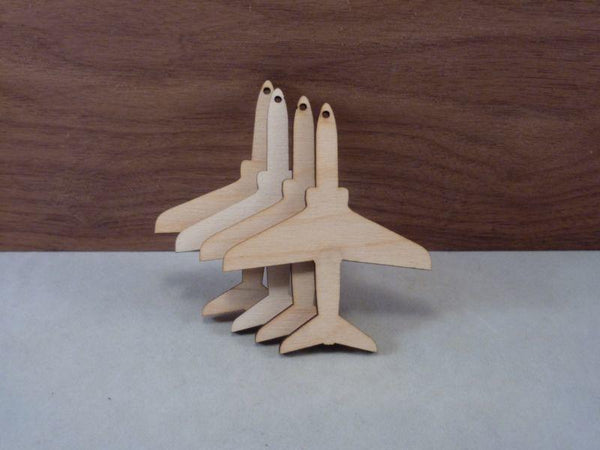Plywood Jet Plane Craft Blank - 8cm with hanging holes