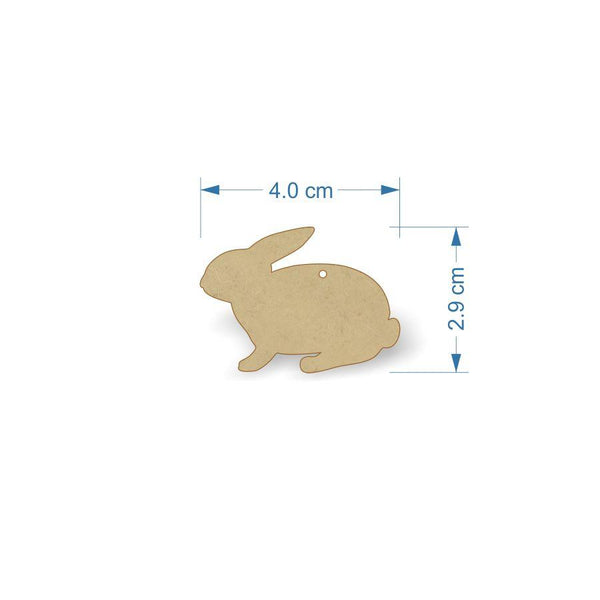 3mm MDF Rabbit Craft Tags - 4 cm with hanging hole