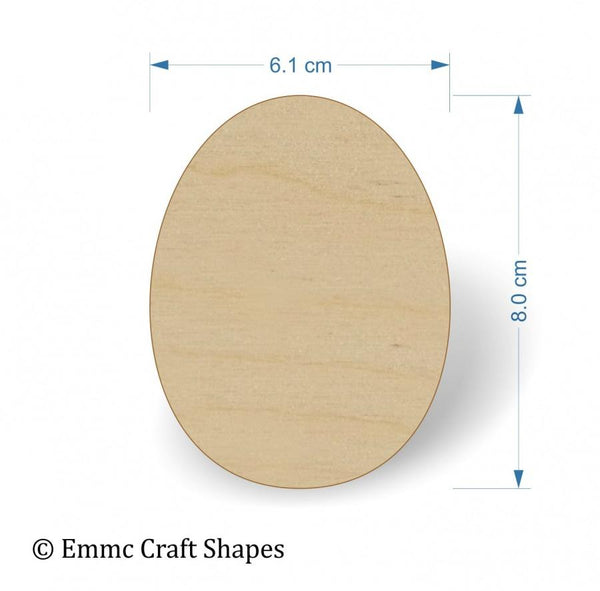 Plywood Egg Shape - 8 cm without hanging hole