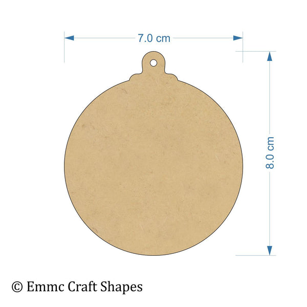 3 mm MDF bauble cut outs with hanging hole - 8 cm