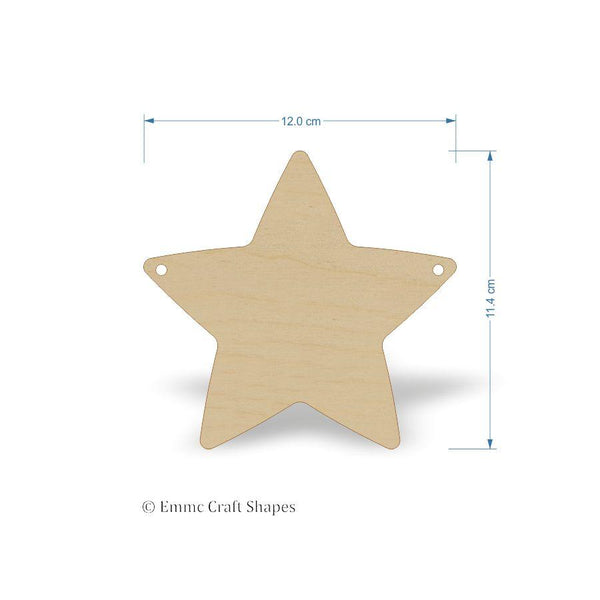Plywood Star Shape with bunting style hanging hole