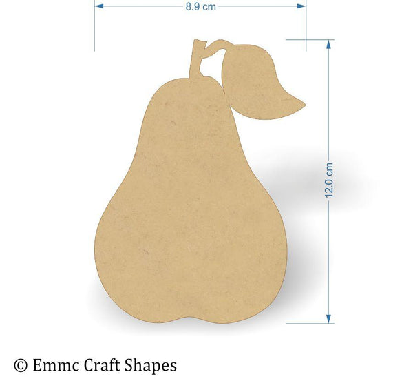 3mm MDF Pear Shapes - 12 cm without hanging hole