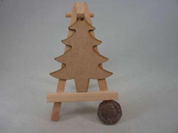2 mm MDF Christmas Trees - 8 cm with hanging hole