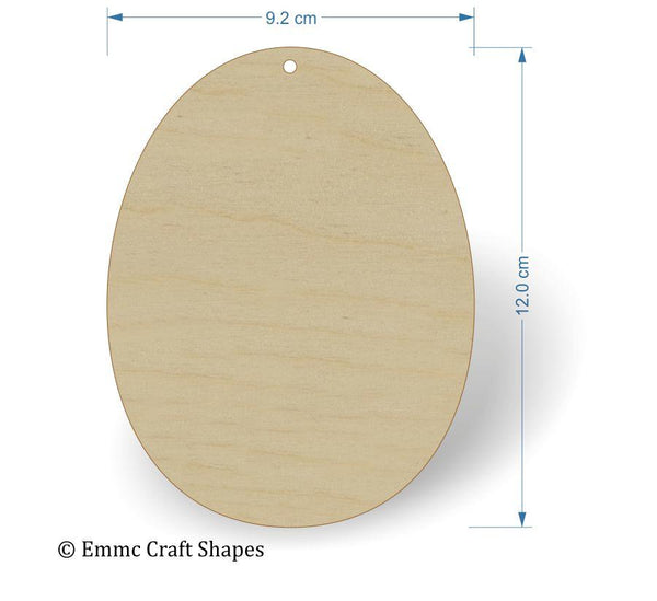 Plywood Egg Shape - 12 cm with hanging hole
