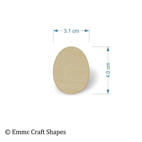 Plywood Egg Shape - 4 cm with hanging hole