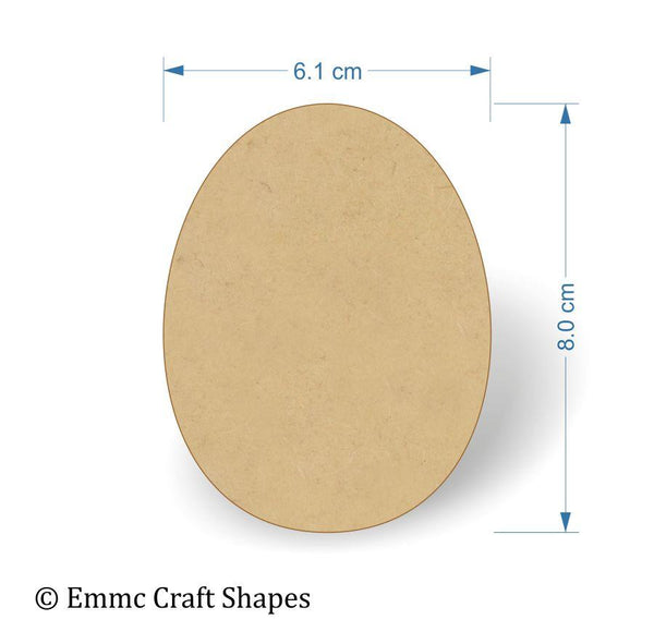 3mm MDF Egg Shape - 8 cm without hanging hole