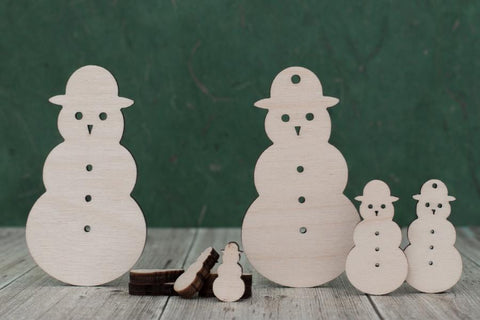Plywood Snowmen Craft Shapes