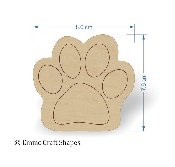 Plywood Cat/Dog Paw Print Tags - 8 cm Etched