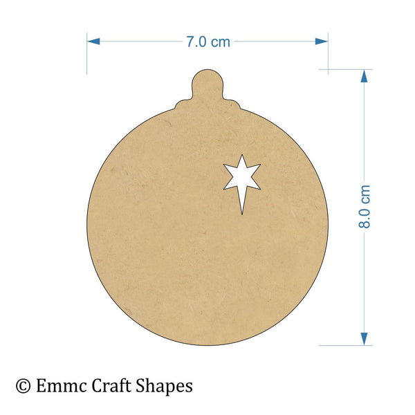 3mm MDF bauble cut outs with star - 8cm