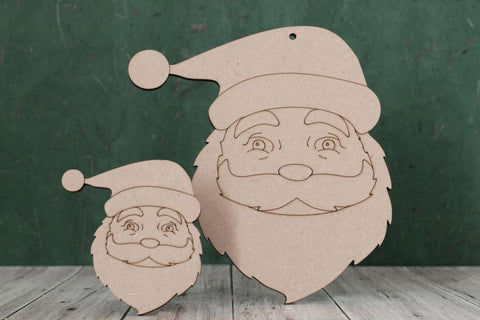 3 mm MDF Father Christmas Face with etched detail