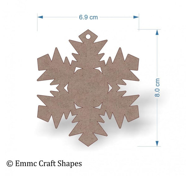 2mm MDF Snowflake Shape - 8 cm with hanging hole