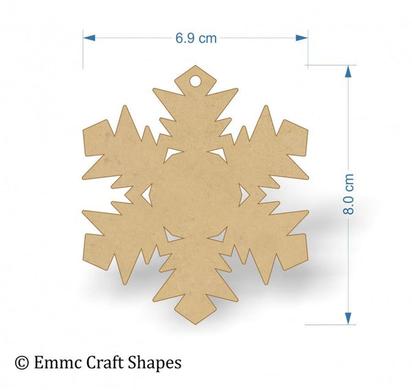 3mm MDF Snowflake Blank - 8 cm with hanging hole