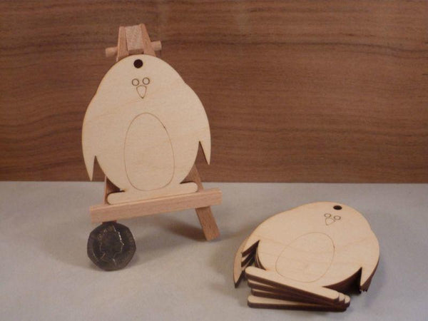 Plywood Penguin Tags - 8 cm