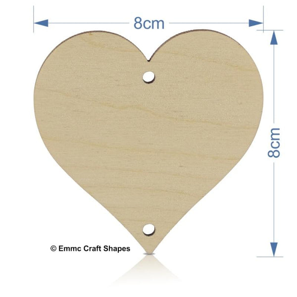 Plywood Heart - 8 cm with hanging holes top and bottom