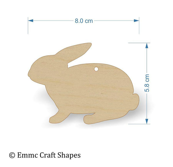 Plywood wooden rabbit craft shape - 8 cm with hanging hole
