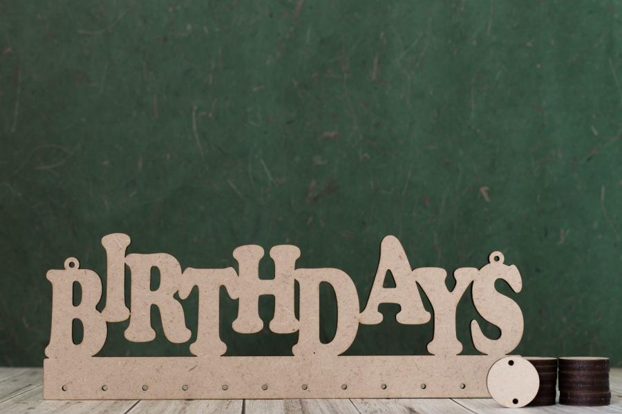 MDF Birthday calendar hanger with 24 wooden discs