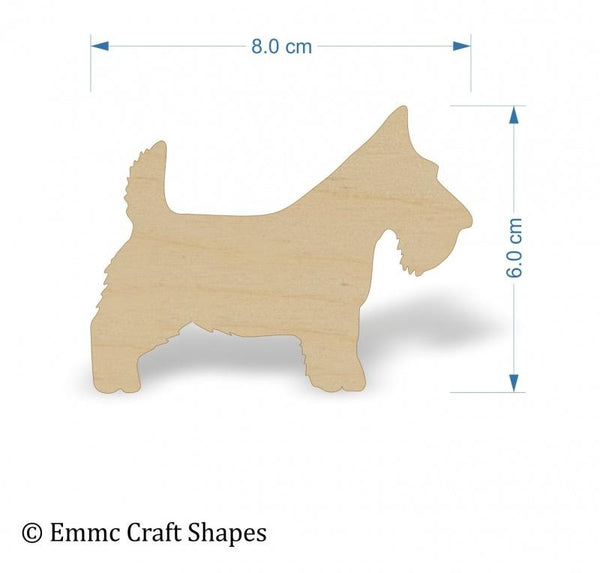 Plywood Scottie Dog Blanks - 8 cm