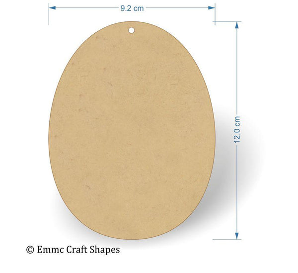 3 mm MDF Egg Shape - 12 cm with hanging hole