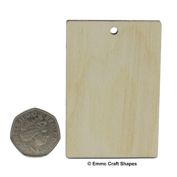 Plywood Rectangle Craft Tag/Blanks - 7.5 cm with hanging hole