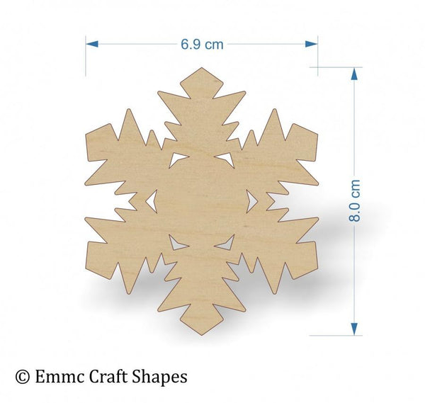 Plywood Snow Flake Cut Out - 8 cm with no hanging hole