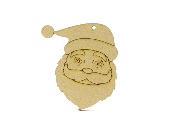 3 mm MDF Father Christmas Face with etched detail - 8 cm with hanging hole