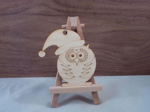 4 mm Plywood Christmas Owl Shapes - 8 cm