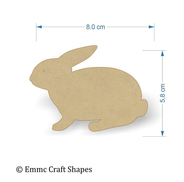 3mm MDF Rabbit Craft Tags - 8 cm